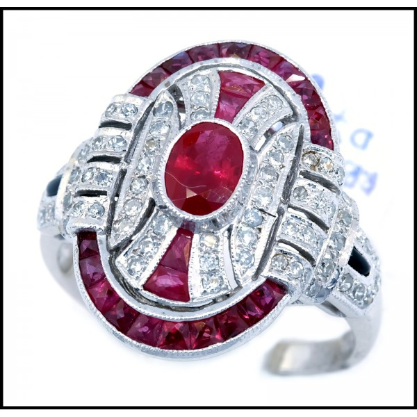 18k White Gold Natural Oval Ruby And Diamond Antique Ring