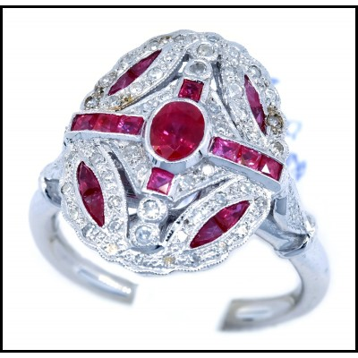 Ruby Antique Ring Solid 18K White Gold and Diamond Accents [RA0010]