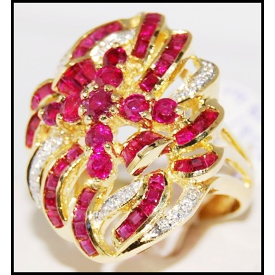 18K Yellow Gold Eternity Ruby and Diamond Cocktail Ring [R0061]