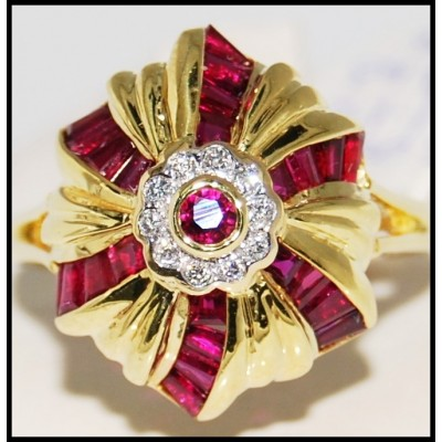 18K Yellow Gold Ruby and Diamond Cocktail Ring [R0074]