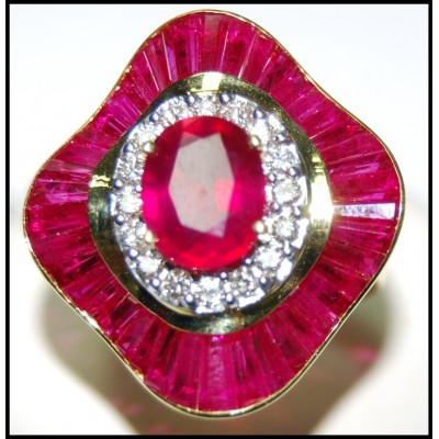Eternity 18K Yellow Gold Jewelry Ruby and Diamond Ring [R0136]