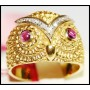 Eternity Owl Unique 18K Yellow Gold Ruby & Diamond Ring [RF0030]
