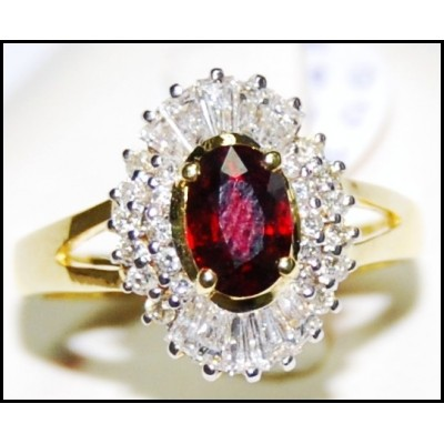 Jewelry Diamond Ruby Solitaire Ring 18K Yellow Gold [R0136]