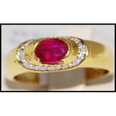 Genuine Ruby Diamond 18K Yellow Gold Solitaire Ring [R0088]