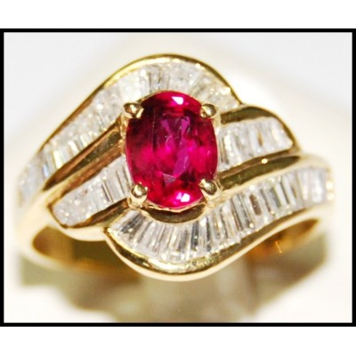 Jewelry Diamond 18K Yellow Gold Wedding Ruby Ring [RB0015]