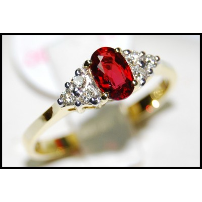 Solitaire Ruby 18K Yellow Gold Ring Natural Diamond [RS0012]