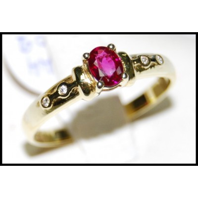 18K Yellow Gold Solitaire Ruby Wedding Diamond Ring [RS0017]