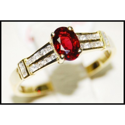 18K Yellow Gold Ruby Solitaire Diamond Wedding Ring [RS0039]