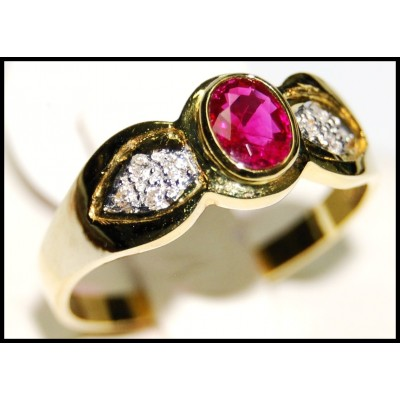 Natural Solitaire Ruby Diamond Ring 18K Yellow Gold [RS0077]
