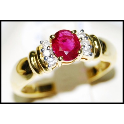Jewelry Ruby 18K Yellow Gold Solitaire Diamond Ring [RS0086]