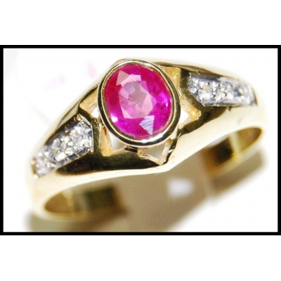 Solitaire Diamond 18K Yellow Gold Ruby Jewelry Ring [RS0119]
