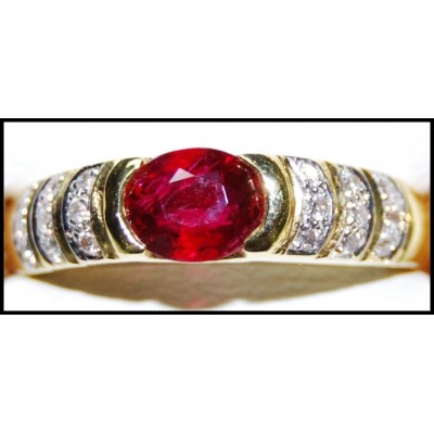 Wedding Diamond 18K Yellow Gold Solitaire Ruby Ring [RS0172]
