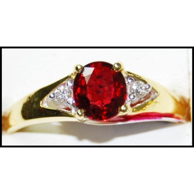 Solitaire Diamond Wedding Ruby Ring 18K Yellow Gold [RS0185]