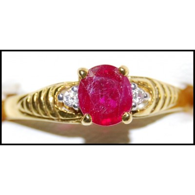 Jewelry Ruby Diamond Solitaire Ring 18K Yellow Gold [RS0205]
