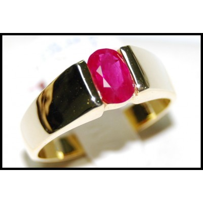 18K Yellow Gold Genuine Oval Red Ruby Solitaire Ring [RS0069]