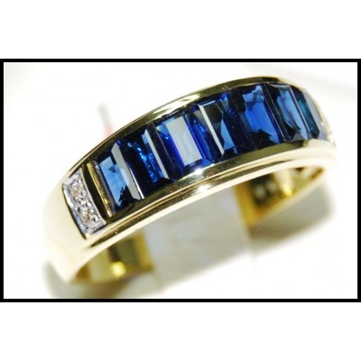 For Men Eternity Blue Sapphire Diamond Ring 18K Yellow Gold [RQ0002]