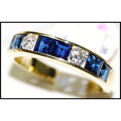 Blue Sapphire Eternity 18K Yellow Gold Diamond Band Ring [RQ0003]