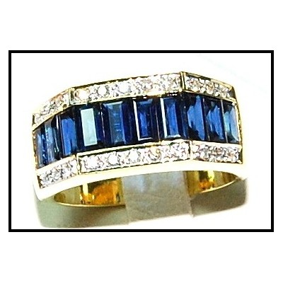 Diamond 18K Yellow Gold Genuine Blue Sapphire For Men Ring [RQ0009]