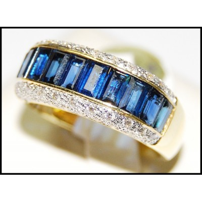 18K Yellow Gold Diamond Eternity Blue Sapphire For Men Ring [RQ0012]