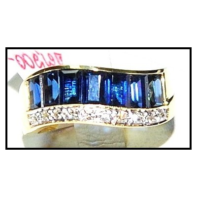 18K Yellow Gold Diamond Blue For Men Sapphire Wedding Ring [RQ0019]
