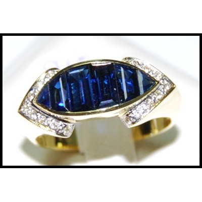 18K Yellow Gold Genuine For Men Blue Sapphire Ring Diamond [RQ0029]