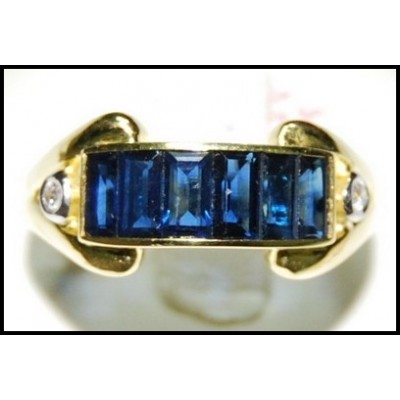 18K Yellow Gold For Men Blue Sapphire Diamond Eternity Ring [RQ0043]