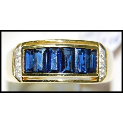 Genuine For Men Blue Sapphire Diamond 18K Yellow Gold Ring [RQ0046]