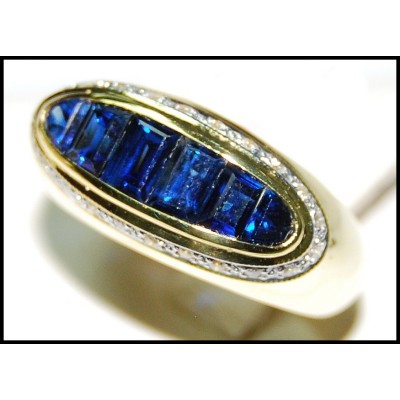 Natural 18K Yellow Gold Blue Sapphire Diamond For Men Ring [RQ0050]