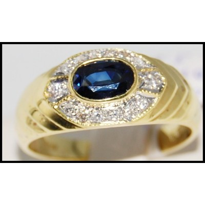 18K Yellow Gold Natural Diamond Blue Sapphire Solitaire Ring [R0086]