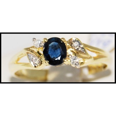18K Yellow Gold Diamond Solitaire Oval Blue Sapphire Ring [R0094]
