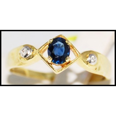 Genuine Blue Sapphire Solitaire 18K Yellow Gold Diamond Ring [R0103]