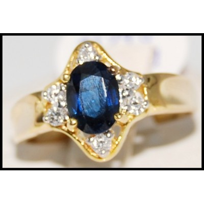 Natural Diamond Blue Sapphire Solitaire 18K Yellow Gold Ring [R0105]