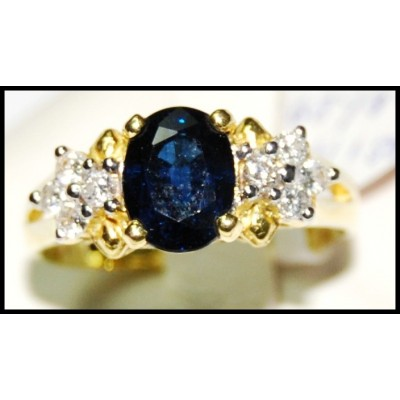 Natural Blue Sapphire Diamond Solitaire Ring 18K Yellow Gold [RS0009]