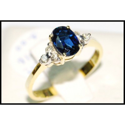 Natural Blue Sapphire Solitaire Diamond Ring 18K Yellow Gold [RS0012]