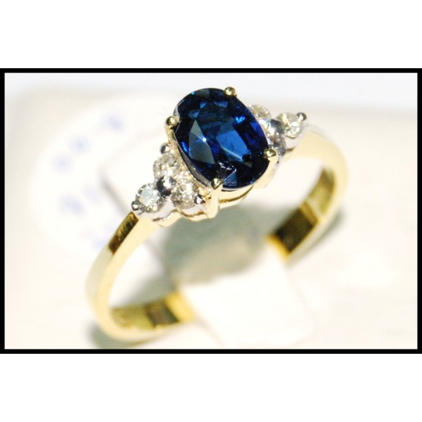 Natural Blue Sapphire Solitaire Diamond Ring 18k Yellow