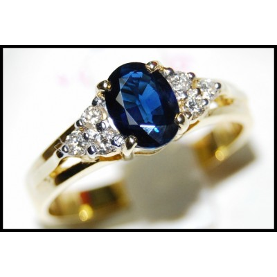 18K Yellow Gold Genuine Diamond Solitaire Blue Sapphire Ring [RS0013]