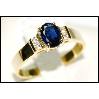 Oval Blue Sapphire Solitaire 18K Yellow Gold Diamond Ring [RS0018]