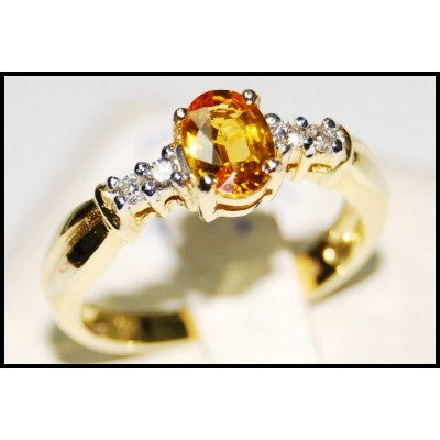 Oval Yellow Sapphire Diamond 18K Yellow Gold Solitaire Ring [RS0025]