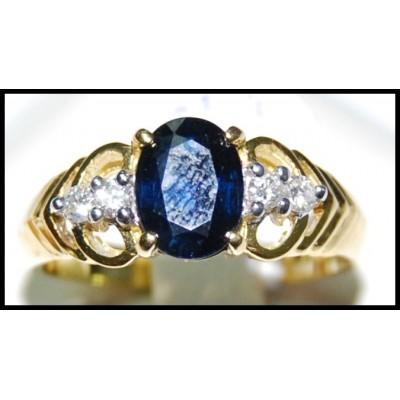Genuine 18K Yellow Gold Diamond Solitaire Blue Sapphire Ring [RS0028]