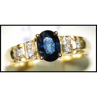 18K Yellow Gold Solitaire Unique Blue Sapphire Diamond Ring [RS0040]