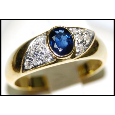18K Yellow Gold Oval Solitaire Blue Sapphire Ring Diamond [RS0080]