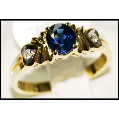 18K Yellow Gold Natural Diamond Solitaire Blue Sapphire Ring [RS0089]