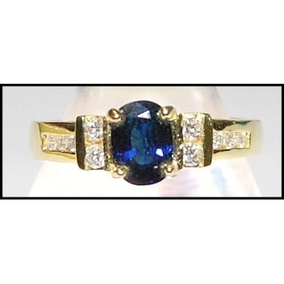 Solitaire Diamond Blue Sapphire Unique 18K Yellow Gold Ring [RS0092]