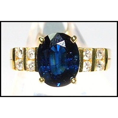 Genuine Solitaire 18K Yellow Gold Diamond Blue Sapphire Ring [RS0093]