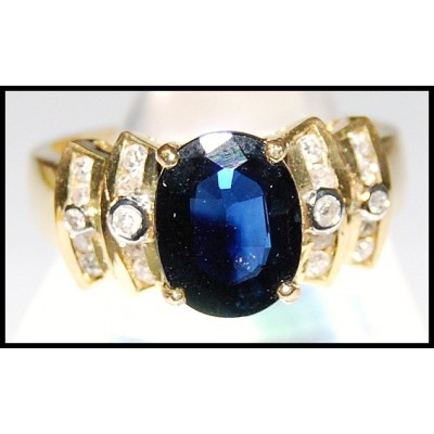 Natural Blue Sapphire Diamond Solitaire Ring 18K Yellow Gold [RS0097]