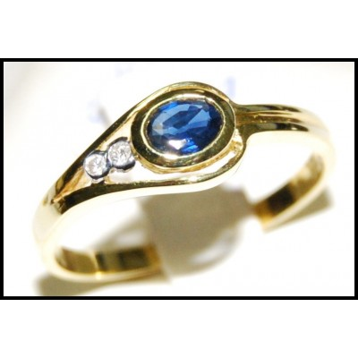 Genuine Solitaire Diamond Blue Sapphire Ring 18K Yellow Gold [RS0115]
