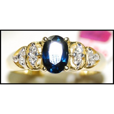 Diamond Genuine 18K Yellow Gold Solitaire Blue Sapphire Ring [RS0120]