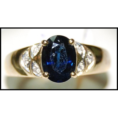 18K Yellow Gold Solitaire Diamond Oval Blue Sapphire Ring [RS0122]