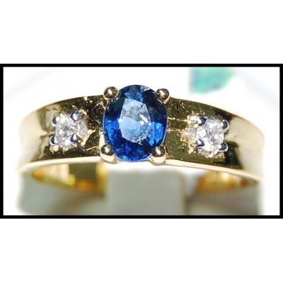 18K Yellow Gold Natural Diamond Solitaire Blue Sapphire Ring [RS0125]