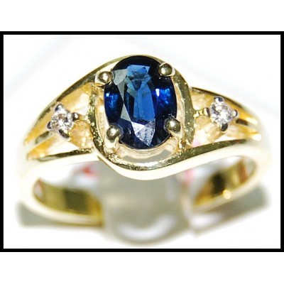 Diamond Solitaire 18K Yellow Gold Oval Blue Sapphire Ring [RS0133]